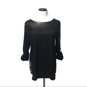 Ann Taylor Black Perforated Faux Leather Yoke Top